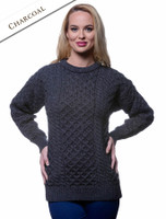 Women's Heavyweight Traditional Aran Wool Sweater - Charcoal