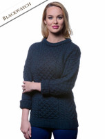 Women's Heavyweight Traditional Aran Wool Sweater - Blackwatch