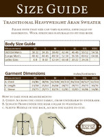 Size Guide for Women's Heavyweight Traditional Aran Wool Sweater