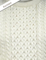 Pattern Detail of Women's Heavyweight Traditional Aran Wool Sweater