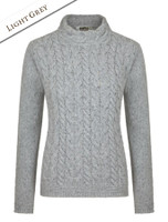 Wool Cashmere Aran Cable Merino Sweater - Light Grey