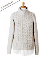 Wool Cashmere Aran Cable Merino Sweater - Chalkstone
