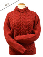 Wool Cashmere Aran Cable Merino Sweater - Red