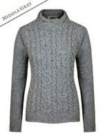 Wool Cashmere Aran Cable Merino Sweater - Middle Grey
