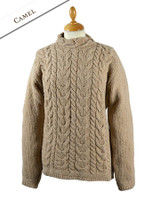Wool Cashmere Aran Cable Merino Sweater - Camel