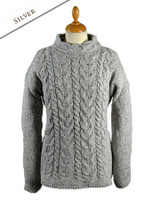 Wool Cashmere Aran Cable Merino Sweater - Silver