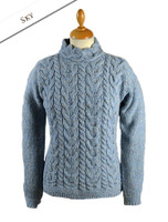 Wool Cashmere Aran Cable Merino Sweater - Sky Blue