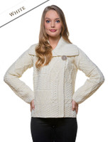Patchwork Cardigan with Collar - Natural White