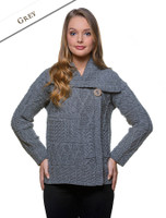 Patchwork Cardigan with Collar - Grey