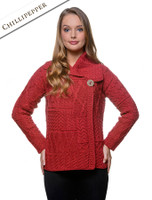 Patchwork Cardigan with Collar - Chillipepper