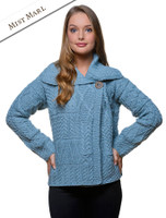 Patchwork Cardigan with Collar - Mist Marl