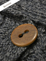 Button Detail of Patchwork Cardigan with Collar