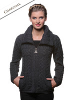 Double Collar Zip Merino Aran Cardigan - Charcoal