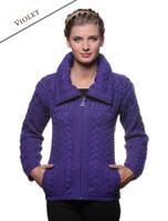 Double Collar Zip Merino Aran Cardigan - Violet