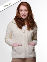 Collar Zip Merino Aran Cardigan - White