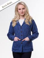 Revere Button Collar Aran Cardigan - Blue Marl