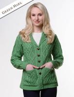 Revere Button Collar Aran Cardigan - Green Marl