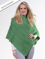 Aran Cable Poncho - Apple Green