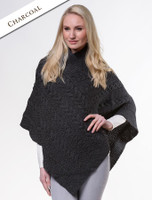 Aran Cable Poncho - Charcoal