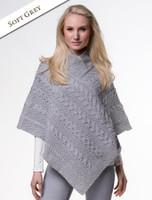 Aran Cable Poncho - Soft Grey