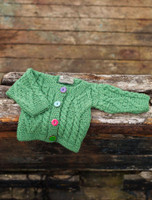 Baby/Toddler Aran Jacket with Color Buttons - Kiwi