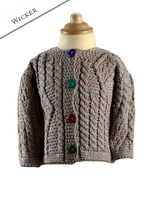 Baby/Toddler Aran Jacket with Color Buttons - Wicker