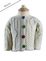 Baby/Toddler Aran Jacket with Color Buttons - Natural White