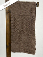 Merino Aran Patchwork Throw - Brown