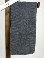 Merino Aran Patchwork Throw - Grey