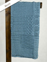 Merino Aran Patchwork Throw - Misty