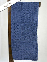 Merino Aran Patchwork Throw - Denim