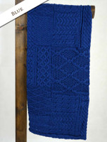 Merino Aran Patchwork Throw - Blue