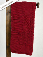 Merino Aran Patchwork Throw - Chillipepper