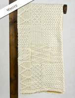 Merino Aran Patchwork Throw - White
