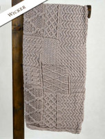 Merino Aran Patchwork Throw - Wicker