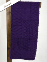 Merino Aran Patchwork Throw - Purple