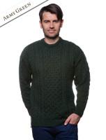 Men's Merino Aran Sweater - Army Green