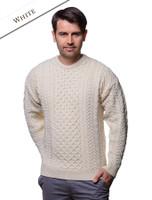 Men's Merino Aran Sweater - Natural White