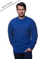 Men's Merino Aran Sweater - Blue Marl