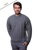 Men's Merino Aran Sweater - Grey
