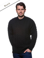 Men's Merino Aran Sweater - Black