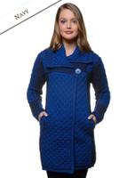 Two Tone Merino Wool Coat - Navy