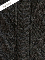 Pattern Detail from Aran Sweater with Zip Neck
