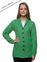 Merino Shawl Neck Cardigan - Green Marl