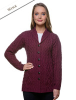Merino Shawl Neck Cardigan - Wine