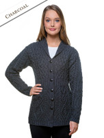 Merino Shawl Neck Cardigan - Charcoal