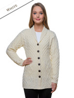 Merino Shawl Neck Cardigan - Natural White