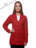 Merino Shawl Neck Cardigan - Red