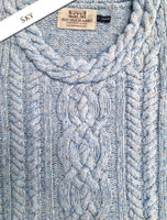 Wool Cashmere  Plaited Neck Sweater - Sky Blue