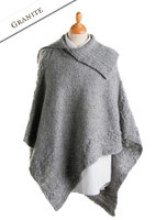 Merino Wool Poncho with Split Collar - Granite